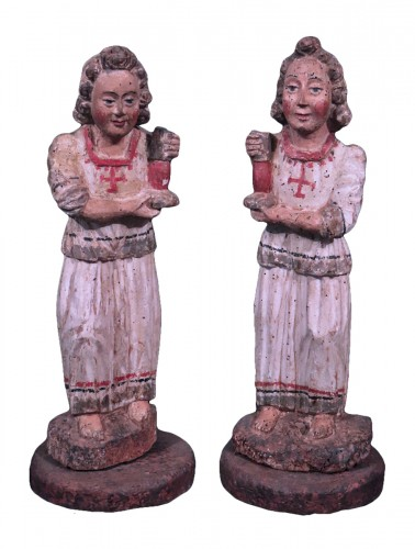 Pair of angels in Polychrome wood, Siena, 15th century