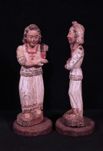 Pair of angels in Polychrome wood, Siena, 15th century -