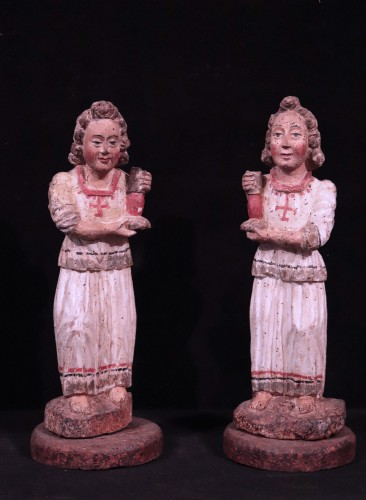 <= 16th century - Pair of angels in Polychrome wood, Siena, 15th century