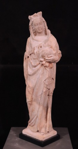 "Marble sculpture ""Madonna with the Child"", italy, 14th century - Sculpture Style Middle age"