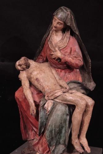 """Polychrome terracotta sculpture, """"Pietà"""", Italy 16th century - Sculpture Style Renaissance"""