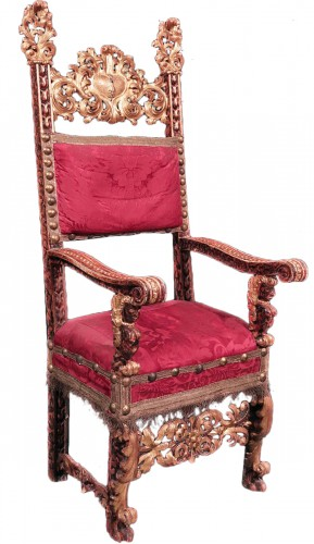 Carved And Golden Armchair, Tuscany, 17th Century