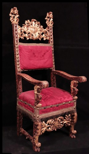 Renaissance - Carved And Golden Armchair, Tuscany, 17th Century