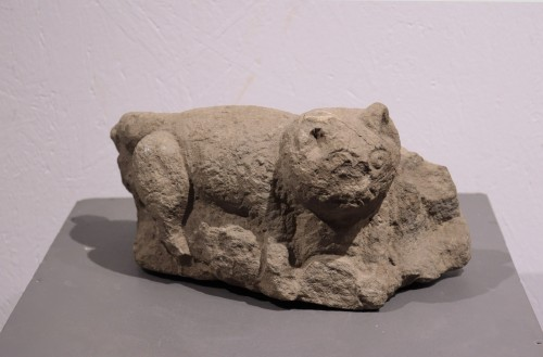 "Stone sculpture ""Feline animal"", 15th century - Sculpture Style Middle age"