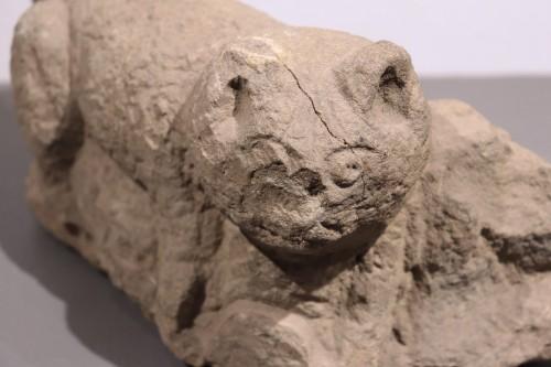 <= 16th century - Stone sculpture &quot;Feline animal&quot;, 15th century
