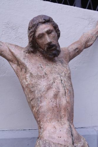 <= 16th century - Polychrome Wood Christ, Tuscany 13th Century
