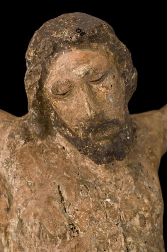 Antiquités - Polychrome Wood Christ, Tuscany 13th Century