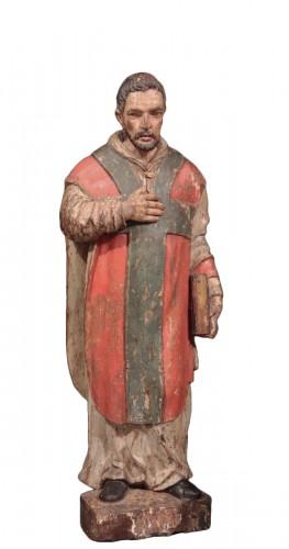 "Wooden sculpture ""Sant' Ambrogio"", Lombardy XVI century"