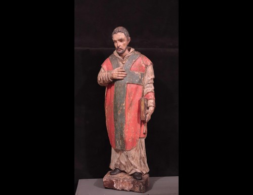 "Wooden sculpture ""Sant' Ambrogio"", Lombardy XVI century - Sculpture Style Renaissance"