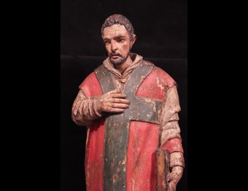 "Wooden sculpture ""Sant' Ambrogio"", Lombardy XVI century -"