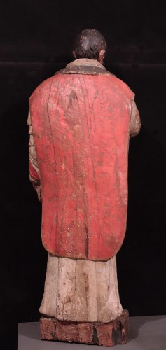 "Antiquités - Wooden sculpture ""Sant' Ambrogio"", Lombardy XVI century"