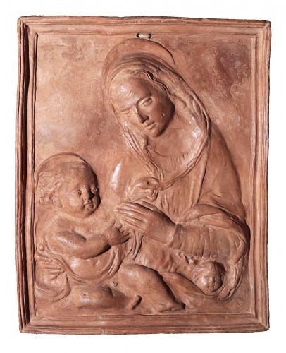 Virgin And Child - High Relief Terracotta, 16th Century
