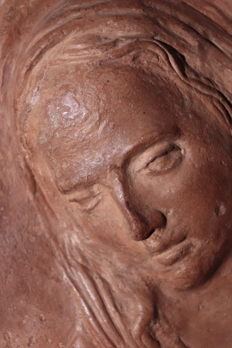 <= 16th century - Virgin And Child - High Relief Terracotta, 16th Century
