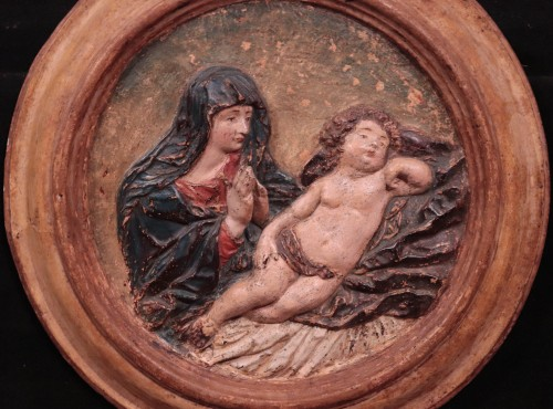 Polychrome High Relief Stucco - Madonna With Child, Florence, 17 Century - Sculpture Style Renaissance