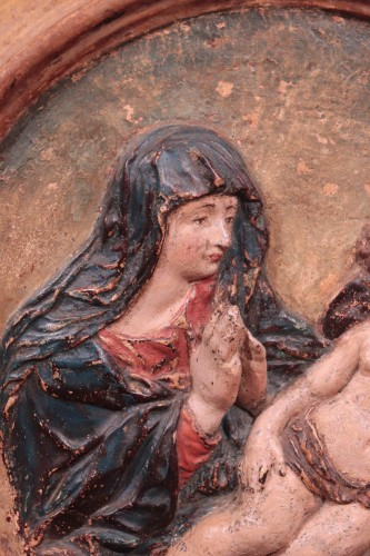 Polychrome High Relief Stucco - Madonna With Child, Florence, 17 Century -