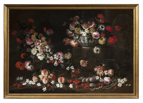 Pair Of Still Life with flowers and fruits, Northern Italy, 17th Century - Paintings & Drawings Style