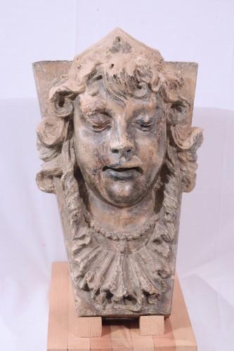 17th century - Terracotta Woman's face, Italy, 17th Century