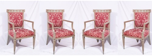 4 Lacquered and gold armchairs, Tuscany late 18th century - Seating Style Louis XVI