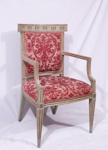 Seating  - 4 Lacquered and gold armchairs, Tuscany late 18th century