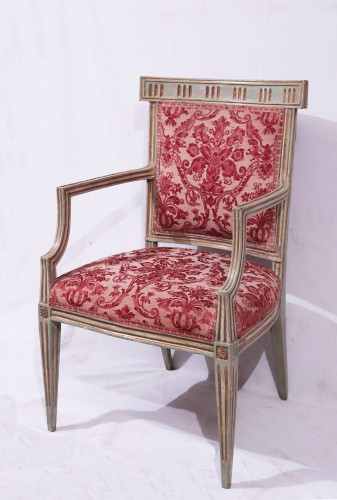 4 Lacquered and gold armchairs, Tuscany late 18th century -