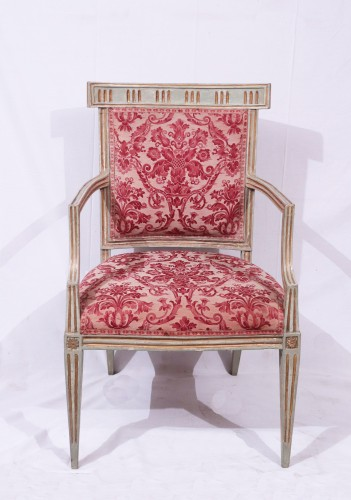 18th century - 4 Lacquered and gold armchairs, Tuscany late 18th century