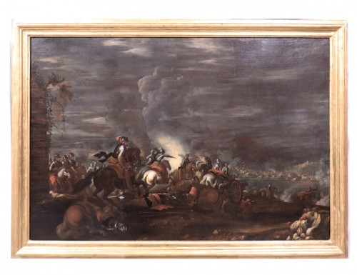 Scene of a nocturnal battle -  Ilario Mercanti called 'Lo Spolverini' (Parma, 1657-1734) - Night battle