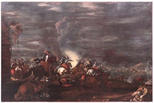 Scene of a nocturnal battle -  Ilario Mercanti called 'Lo Spolverini' (Parma, 1657-1734) - Night battle - Paintings & Drawings Style Louis XIII