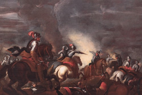 Paintings & Drawings  - Scene of a nocturnal battle -  Ilario Mercanti called 'Lo Spolverini' (Parma, 1657-1734) - Night battle