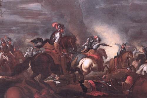 Scene of a nocturnal battle -  Ilario Mercanti called 'Lo Spolverini' (Parma, 1657-1734) - Night battle -