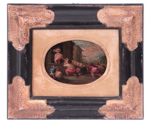 Faustino Bocchi (Brescia 1659 - 1741) - Pair of small scenes - Paintings & Drawings Style Louis XIV