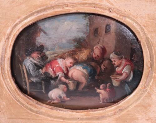 17th century - Faustino Bocchi (Brescia 1659 - 1741) - Pair of small scenes