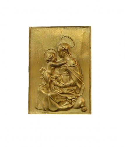 Gilt bronze plaquette of the Madonna and Child, 17th century
