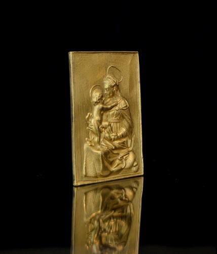 Gilt bronze plaquette of the Madonna and Child, 17th century -