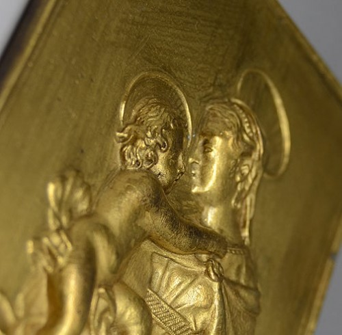 17th century - Gilt bronze plaquette of the Madonna and Child, 17th century
