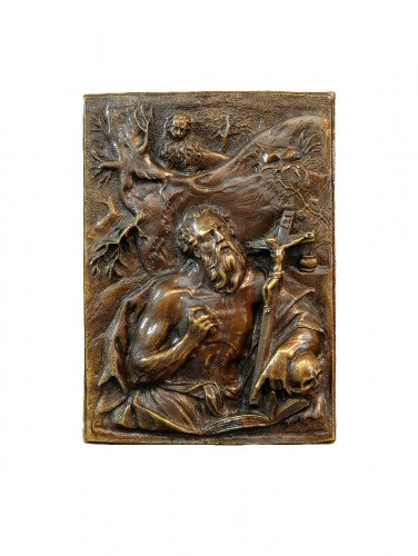 A high-relief bronze plaquette of St. Jerome, circle of Hubert Gerhard