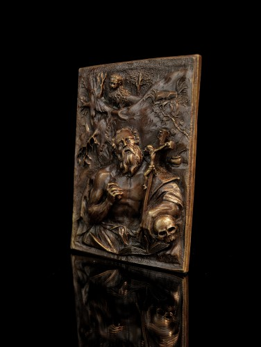 Sculpture  - A high-relief bronze plaquette of St. Jerome, circle of Hubert Gerhard