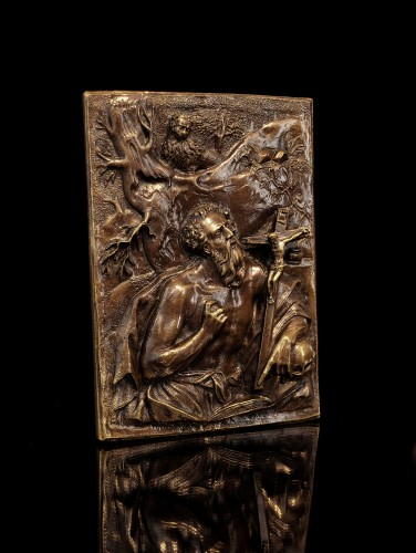 17th century - A high-relief bronze plaquette of St. Jerome, circle of Hubert Gerhard