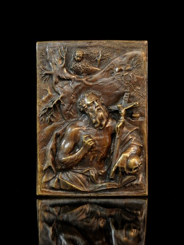 A high-relief bronze plaquette of St. Jerome, circle of Hubert Gerhard - Renaissance