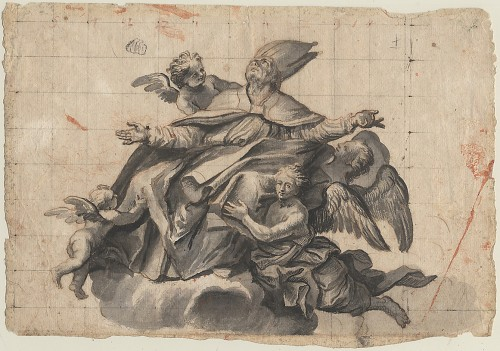 17th century - Design for a ceiling decoration, attributed to Domenico Piola, 17th cent.