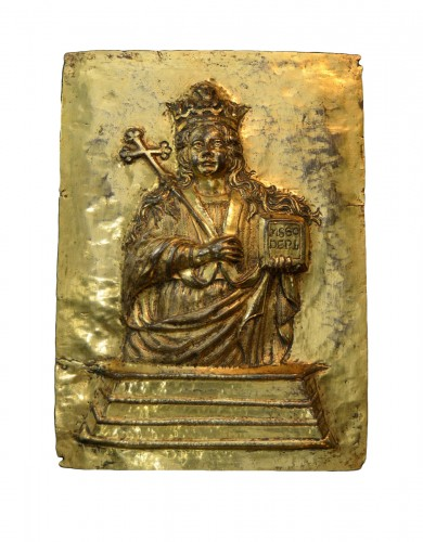 17th cent. gilt relief plaque of Saint Agatha of Sicily
