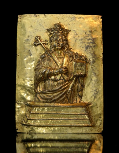 17th cent. gilt relief plaque of Saint Agatha of Sicily - Religious Antiques Style Renaissance