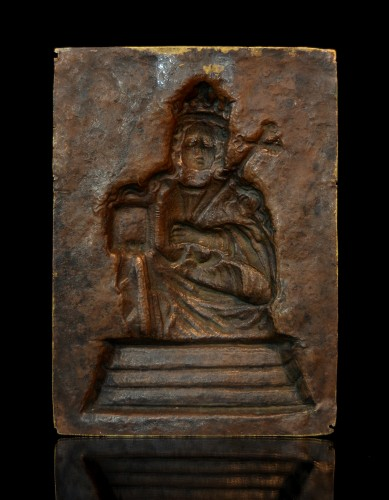 Religious Antiques  - 17th cent. gilt relief plaque of Saint Agatha of Sicily