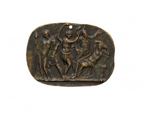 Bronze plaquette of Bacchus discovering Ariadne, circle of Donatello