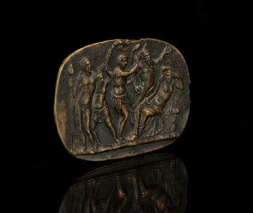 Sculpture  - Bronze plaquette of Bacchus discovering Ariadne, circle of Donatello