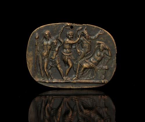Bronze plaquette of Bacchus discovering Ariadne, circle of Donatello -