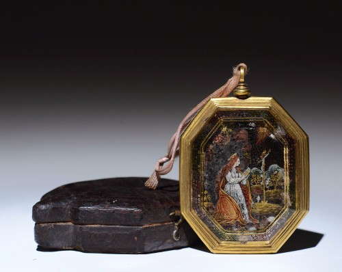 Verre eglomise devotional pendant depicting Sts. Francis and Claire - Objects of Vertu Style Renaissance