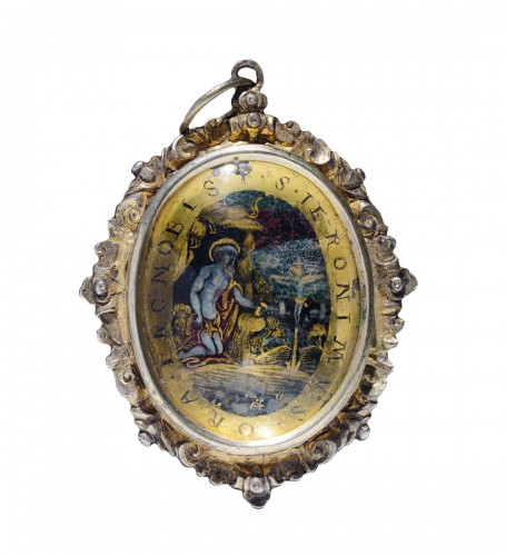 Verre eglomise devotional pendant depicting St. Jerome