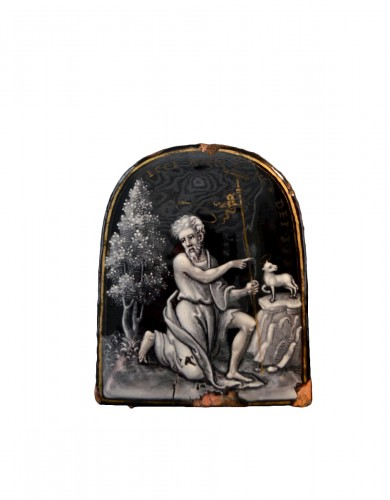 Autograph Limoges enamel of John the Baptist by Pierre Reymond