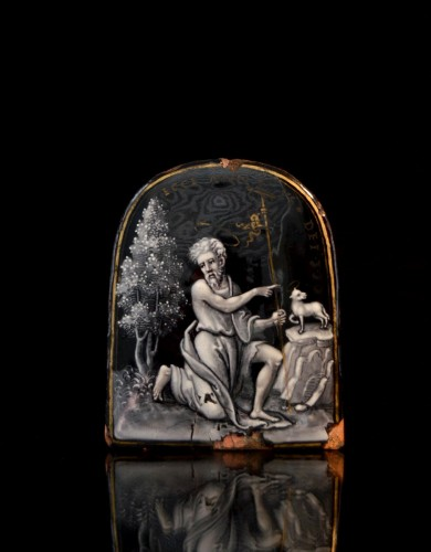 Autograph Limoges enamel of John the Baptist by Pierre Reymond -