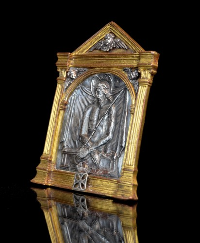 Religious Antiques  - Renaissance bronze and silver Spanish pax of the Imago Pietatis